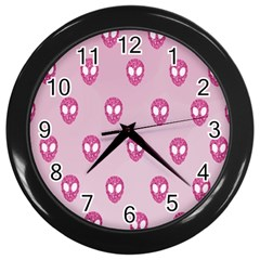 Alien Pattern Pink Wall Clocks (black) by BangZart