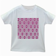 Alien Pattern Pink Kids White T Shirts