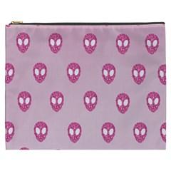 Alien Pattern Pink Cosmetic Bag (xxxl)
