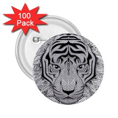 Tiger Head 2 25  Buttons (100 Pack)