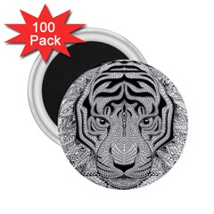 Tiger Head 2 25  Magnets (100 Pack)