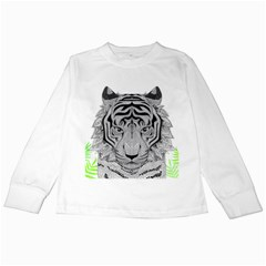 Tiger Head Kids Long Sleeve T Shirts