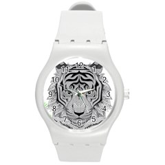 Tiger Head Round Plastic Sport Watch (m) by BangZart