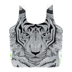 Tiger Head Full Print Recycle Bags (l)  by BangZart