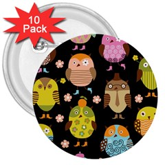 Cute Owls Pattern 3  Buttons (10 Pack)  by BangZart