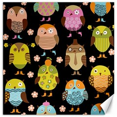 Cute Owls Pattern Canvas 12  X 12   by BangZart