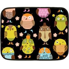 Cute Owls Pattern Double Sided Fleece Blanket (mini)
