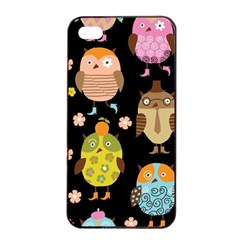 Cute Owls Pattern Apple Iphone 4/4s Seamless Case (black)