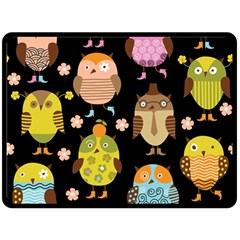 Cute Owls Pattern Double Sided Fleece Blanket (large)  by BangZart