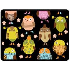Cute Owls Pattern Double Sided Fleece Blanket (large)