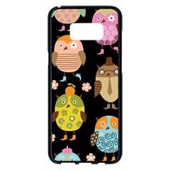 Cute Owls Pattern Samsung Galaxy S8 Plus Black Seamless Case