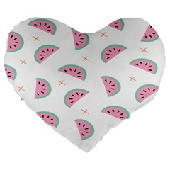 Watermelon Wallpapers  Creative Illustration And Patterns Large 19  Premium Flano Heart Shape Cushions by BangZart