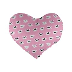 Girly Girlie Punk Skull Standard 16  Premium Flano Heart Shape Cushions
