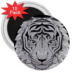 Tiger Head 3  Magnets (10 Pack)