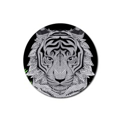 Tiger Head Rubber Coaster (round)  by BangZart