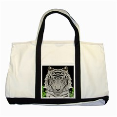Tiger Head Two Tone Tote Bag