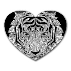 Tiger Head Heart Mousepads