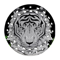 Tiger Head Round Filigree Ornament (two Sides)