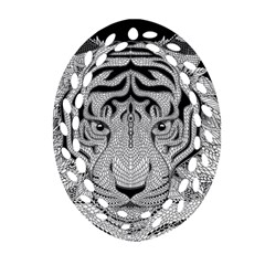 Tiger Head Oval Filigree Ornament (two Sides)