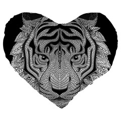 Tiger Head Large 19  Premium Heart Shape Cushions by BangZart