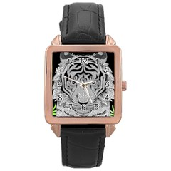 Tiger Head Rose Gold Leather Watch