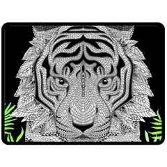 Tiger Head Double Sided Fleece Blanket (large)  by BangZart