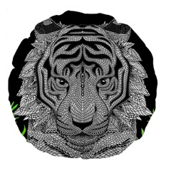 Tiger Head Large 18  Premium Flano Round Cushions