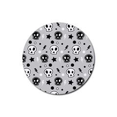 Skull Pattern Rubber Coaster (round)