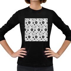 Skull Pattern Women s Long Sleeve Dark T Shirts