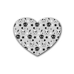 Skull Pattern Heart Coaster (4 Pack)