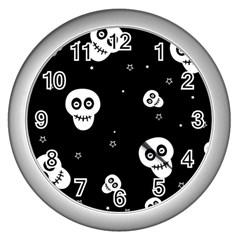 Skull Pattern Wall Clocks (silver)