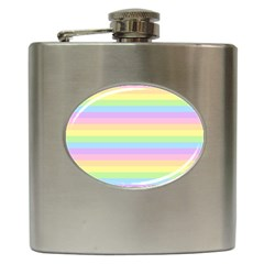 Cute Pastel Rainbow Stripes Hip Flask (6 Oz)