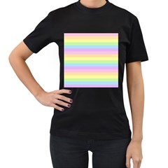 Cute Pastel Rainbow Stripes Women s T Shirt (black) (two Sided)