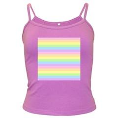 Cute Pastel Rainbow Stripes Dark Spaghetti Tank