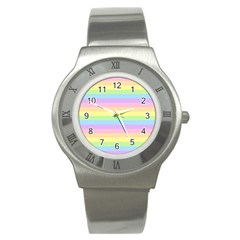 Cute Pastel Rainbow Stripes Stainless Steel Watch by BangZart