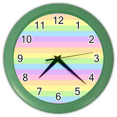 Cute Pastel Rainbow Stripes Color Wall Clocks by BangZart
