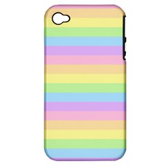 Cute Pastel Rainbow Stripes Apple Iphone 4/4s Hardshell Case (pc+silicone)