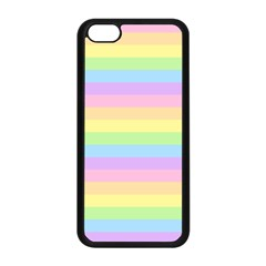 Cute Pastel Rainbow Stripes Apple Iphone 5c Seamless Case (black) by BangZart