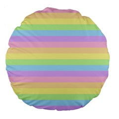 Cute Pastel Rainbow Stripes Large 18  Premium Flano Round Cushions