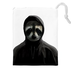 Gangsta Raccoon  Drawstring Pouches (xxl) by Valentinaart