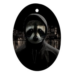 Gangsta Raccoon  Oval Ornament (two Sides) by Valentinaart