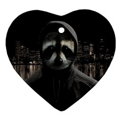 Gangsta Raccoon  Heart Ornament (two Sides) by Valentinaart