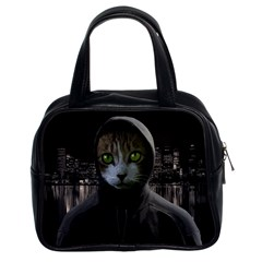 Gangsta Cat Classic Handbags (2 Sides) by Valentinaart