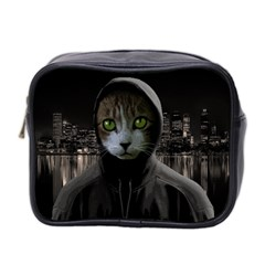 Gangsta Cat Mini Toiletries Bag 2 Side by Valentinaart