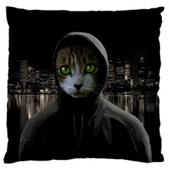Gangsta Cat Large Flano Cushion Case (one Side) by Valentinaart