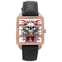 Acab Tribal Rose Gold Leather Watch  by Valentinaart