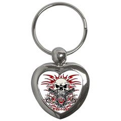 Skull Tribal Key Chains (heart)  by Valentinaart