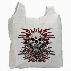 Skull Tribal Recycle Bag (one Side) by Valentinaart