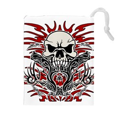 Skull Tribal Drawstring Pouches (extra Large) by Valentinaart