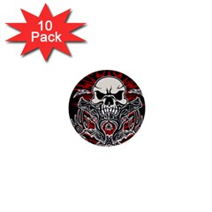 Skull Tribal 1  Mini Buttons (10 Pack)  by Valentinaart